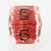 TDSO Sprinkles Beads Red D6 Dice