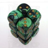 Chessex Gemini Black & Green 12 x D6 Dice Set