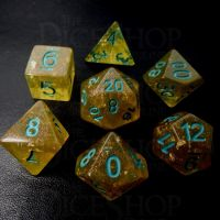 TDSO Confetti Gold Nugget & Turquoise 7 Dice Polyset