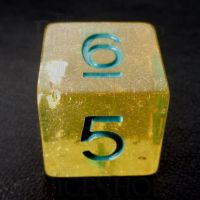 TDSO Confetti Gold Nugget & Turquoise D6 Dice
