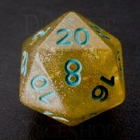 TDSO Confetti Gold Nugget & Turquoise D20 Dice