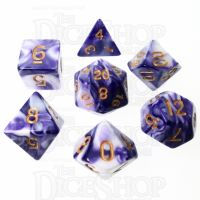 TDSO Marble Purple & White 7 Dice Polyset
