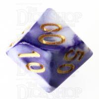 TDSO Marble Purple & White Percentile Dice
