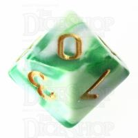 TDSO Marble Green & White D10 Dice