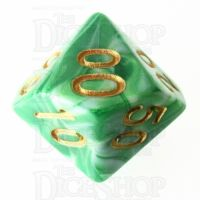 TDSO Marble Green & White Percentile Dice