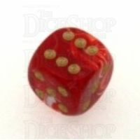 D&G Marble Red & White 15mm D6 Spot Dice