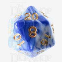 TDSO Marble Blue & White D20 Dice