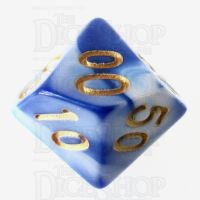 TDSO Marble Blue & White Percentile Dice
