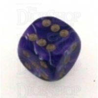 D&G Marble Purple & White 15mm D6 Spot Dice