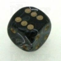 D&G Marble Black & White 15mm D6 Spot Dice