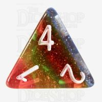 TDSO Layer Transparent Rainbow Glitter D4 Dice