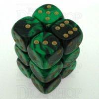 D&G Oblivion Green & Black 12 x D6 Dice Set