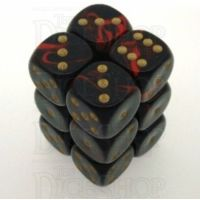 D&G Oblivion Red & Black 12 x D6 Dice Set