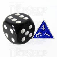 TDSO Metal Fire Forge Silver & Blue MINI 12mm D4 Dice