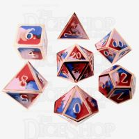 TDSO Metal Fire Forged Multi Colour Copper Blue Red & White 7 Dice Polyset