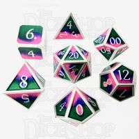 TDSO Metal Fire Forged Multi Colour Silver Blue Green & Pink 7 Dice Polyset