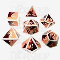 TDSO Metal Fire Forged Multi Colour Silver Orange Red & Yellow 7 Dice Polyset