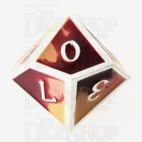 TDSO Metal Fire Forged Multi Colour Silver Orange Red & Yellow D10 Dice