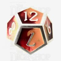TDSO Metal Fire Forged Multi Colour Silver Orange Red & Yellow D12 Dice