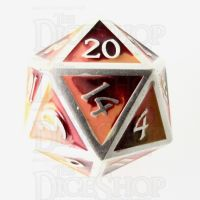 TDSO Metal Fire Forged Multi Colour Silver Orange Red & Yellow D20 Dice