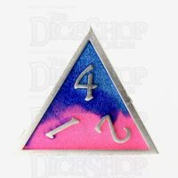 TDSO Metal Fire Forged Multi Colour Silver Blue Pink & Purple D4 Dice