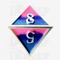 TDSO Metal Fire Forged Multi Colour Silver Blue Pink & Purple D8 Dice