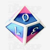 TDSO Metal Fire Forged Multi Colour Silver Blue Pink & Purple D10 Dice