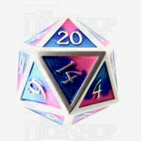 TDSO Metal Fire Forged Multi Colour Silver Blue Pink & Purple D20 Dice