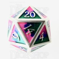 TDSO Metal Fire Forged Multi Colour Silver Blue Green & Pink D20 Dice