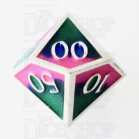 TDSO Metal Fire Forged Multi Colour Silver Blue Green & Pink Percentile Dice
