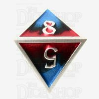 TDSO Metal Fire Forged Multi Colour Silver Black Blue & Red D8 Dice