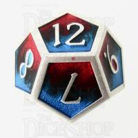 TDSO Metal Fire Forged Multi Colour Silver Black Blue & Red D12 Dice