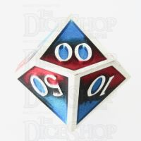 TDSO Metal Fire Forged Multi Colour Silver Black Blue & Red Percentile Dice