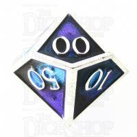 TDSO Metal Fire Forged Multi Colour Silver Black Blue & Purple Percentile Dice