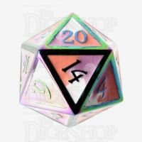TDSO Metal Fire Forged Multi Iridescent Orange Violet & White D20 Dice