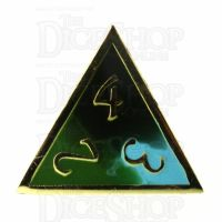 TDSO Metal Fire Forged Multi Gold Black Green & Turquoise D4 Dice