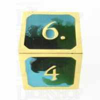 TDSO Metal Fire Forged Multi Gold Black Green & Turquoise D6 Dice
