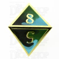 TDSO Metal Fire Forged Multi Gold Black Green & Turquoise D8 Dice