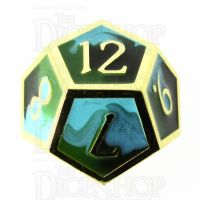 TDSO Metal Fire Forged Multi Gold Black Green & Turquoise D12 Dice