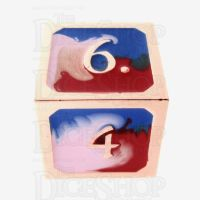 TDSO Metal Fire Forged Multi Copper Blue Red & White D6 Dice