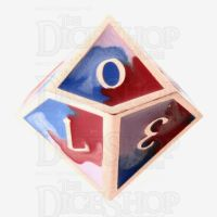 TDSO Metal Fire Forged Multi Copper Blue Red & White D10 Dice
