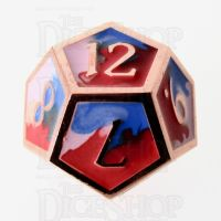 TDSO Metal Fire Forged Multi Copper Blue Red & White D12 Dice