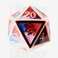 TDSO Metal Fire Forged Multi Copper Blue Red & White D20 Dice
