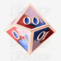 TDSO Metal Fire Forged Multi Copper Blue Red & White Percentile Dice