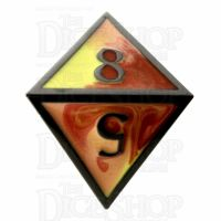 TDSO Metal Fire Forged Multi Black Nickel Orange Red & Yellow D8 Dice