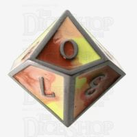 TDSO Metal Fire Forged Multi Black Nickel Orange Red & Yellow D10 Dice