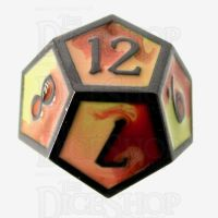 TDSO Metal Fire Forged Multi Black Nickel Orange Red & Yellow D12 Dice