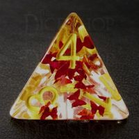 TDSO Confetti Butterfly Red & Yellow D4 Dice