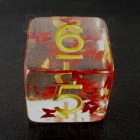 TDSO Confetti Butterfly Red & Yellow D6 Dice