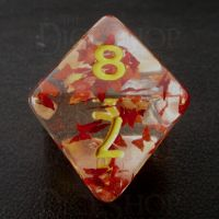 TDSO Confetti Butterfly Red & Yellow D8 Dice